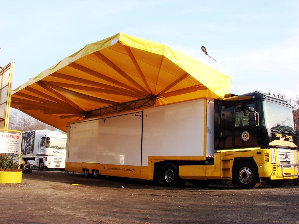 Novita tenda per ambulanti con pannelli solari